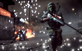 Picture weapons, background, soldiers, sniper, Battlefield 4