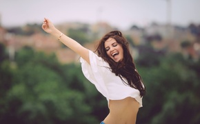 Picture girl, joy, sweetheart, tummy, laughter, teeth, Mike, brunette, beautiful, nature, mood, bokeh, long-haired, David Olkarny, …