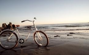 Picture beach, bike, the ocean, shore