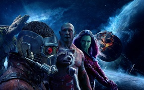 Wallpaper space, fiction, planet, poster, Zoe Saldana, Rocket, Zoe Saldana, Peter Quill, Gamora, Groot, Chris Pratt, ...