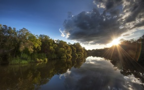 Picture forest, the sky, the sun, clouds, rays, trees, reflection, river, shore, morning, Australia, National Park