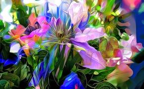 Picture line, flowers, paint, color, petals, garden, touch