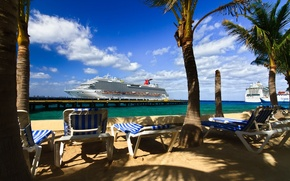 Wallpaper sea, the sun, palm trees, ship, pierce, sun loungers