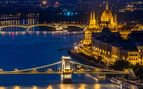 Wallpaper night, lights, river, lights, bridges, the view from the top, Hungary, Budapest