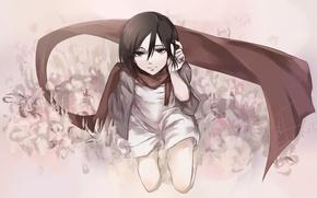 Picture look, girl, smile, scarf, dress, painting, sitting, anime, art, shingeki no kyojin, mikasa ackerman, mizore
