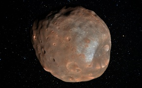 Picture stars, satellite, craters, Phobos, Phobos
