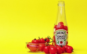 Wallpaper bowl, bottle, tomatoes, ketchup, Heinz