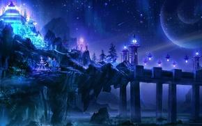 Picture stars, bridge, lights, river, castle, rocks, Night, lights, Palace