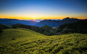 Picture mountains, sunrise, dawn, Taiwan, Taiwan, Zhongyang Range, The Central mountain range, Central Mountain Range