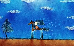 Wallpaper figure, man, clouds, Horse