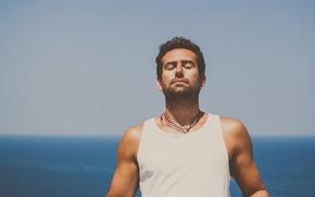 Wallpaper sea, male, necklace, calm, the sky, horizon