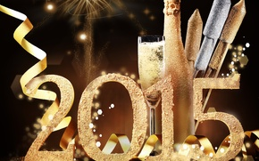 Picture decoration, New Year, glasses, champagne, 2015