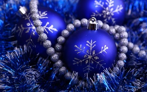 Wallpaper blue, holiday, new year, silver, beads, new year, tinsel, snowflake, Christmas ball, brilliant