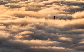 Picture the sun, bridge, the city, lights, fog, Vancouver, bridge, British Columbia, gate