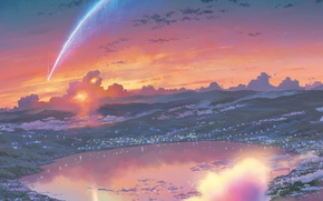 Picture the sky, clouds, lake, lights, disaster, crater, town, meteorite, Kimi no VA On, Your name, …