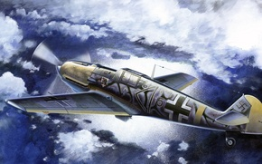 Picture figure, art, Messerschmitt, Me-109, Luftwaffe, single-engine piston fighter-low, Bf.109E-7/B