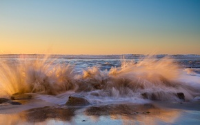 Picture sea, wave, squirt, shore
