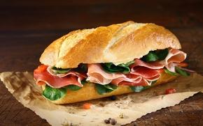 Picture pepper, bread, sandwich, sandwich, ham, baton, salmon