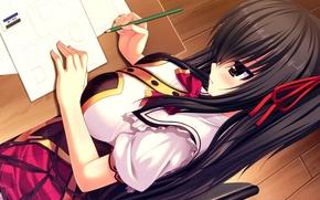 Picture chest, girl, pencil, schoolgirl, Parta, sheets, art, namaiki delation, shinkai nagisa