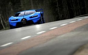 Picture asphalt, markup, speed, turn, turn, Bugatti, Vision, track, blue, Gran Turismo, show car, 2015