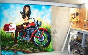 Picture summer, girl, nature, graffiti, figure, garage, motorcycle, bike, graffiti, design, robs_art, robs