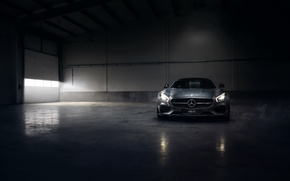 Picture Mercedes-Benz, Front, AMG, Color, Smoke, Silver, Engine, Angar