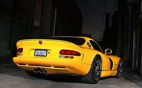 Wallpaper night, yellow, Dodge, Viper GTS