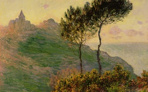 Picture landscape, picture, Claude Monet, The Church in Varengeville at Sunset