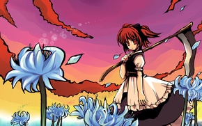 Picture look, braid, red, red eyes, touhou, blue flowers, komachi is beautiful