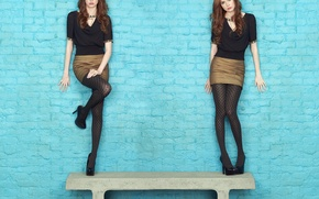 Picture look, girl, sweetheart, skirt, actress, beauty, shoes, blouse, tights, redhead, brick wall, Karen Gillan, Karen …