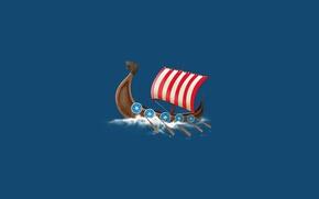 Picture water, boat, ship, sailboat, minimalism, ship, the Vikings, paddles, vikings