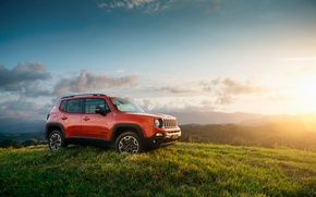 Picture the sun, sunset, hill, Jeep, Trailhawk, Renegade