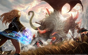 Picture girls, magic, wings, monster, bow, Archer, battle, raiderz