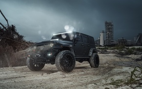 Wallpaper Black, Car, Jeep, Wrangel, Fuel