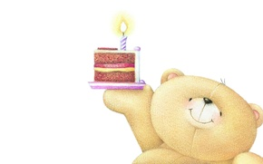 Picture mood, holiday, candle, art, bear, cake, children's, Birthday, Forever Friends Deckchair bear