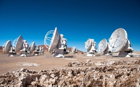 Picture antenna, Observatory, radio telescopes, Chilean Andes, antennas, Chajnantor Plateau, Giant Radio Telescope ALMA in Chile