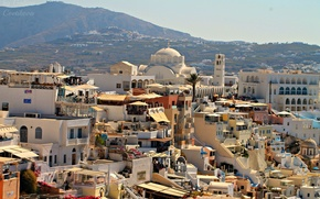 Picture the city, view, beautiful, Greece, high, Fira, the island of Santorini