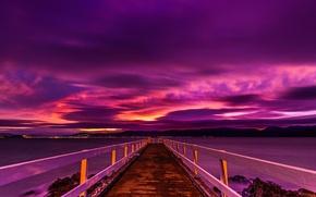 Picture mountains, night, New Zealand, pierce, glow, the bridge