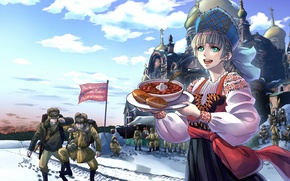 Picture winter, girl, snow, food, war, flag, temple, guys, Russia, cakes, soup