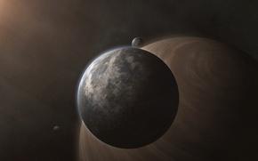 Picture space, stars, planet, satellite