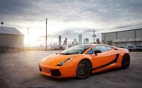 Picture the sky, the sun, orange, the city, Lamborghini, Gallardo, Blik, Lamborghini, orange, Lamborghini, Gallardo