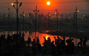 Picture twilight, sunset, people, dusk, cityscape, India, silhouettes, lamp posts, urban scene, power lines, Allahabad