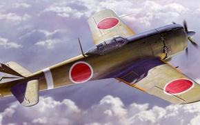 Picture war, art, painting, ww2, japanese fighter, Nakajima Ki-84 Hayate