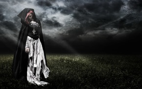 Picture field, girl, night, clouds, rendering, dark, art, witch, cloak, the witch, gloomy, rags, Wallpaper from …