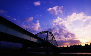 Picture clouds, sunset, bridge, home