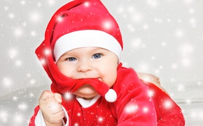 Wallpaper New Year, baby santa, holiday, Christmas, New Year, baby, Christmas, child, santa