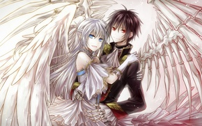 Wallpaper bones, wings, art, guy, the demon, yuki rengetsu, red eyes, girl
