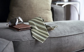Picture sofa, glasses, tie, purse