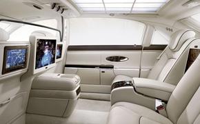 Wallpaper leather, luxury, salon, Maybach, TV, light