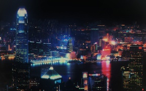 Picture night, lights, style, river, neon, skyscrapers